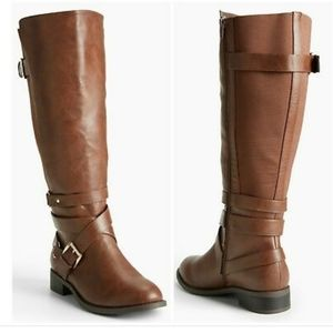 TORRID MULTI METAL STRAP TALL BOOTS